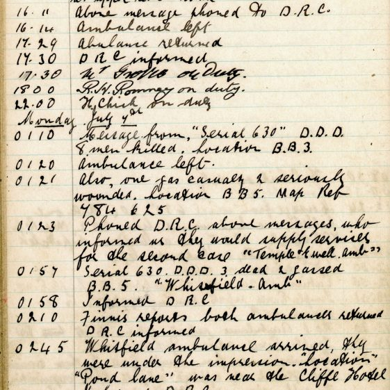 St Margaret's ARP (Air Raid Precautions) Log. Volume 4. 18 February 1941 - 25 September 1941. Pages 99-107