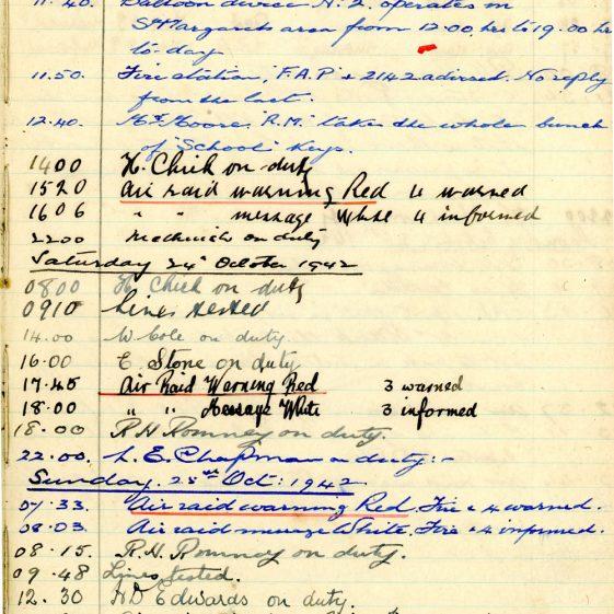 St Margaret's ARP (Air Raid Precautions) Log. Volume 6. 17 July 1942 - 16 February 1943. Pages 68-76