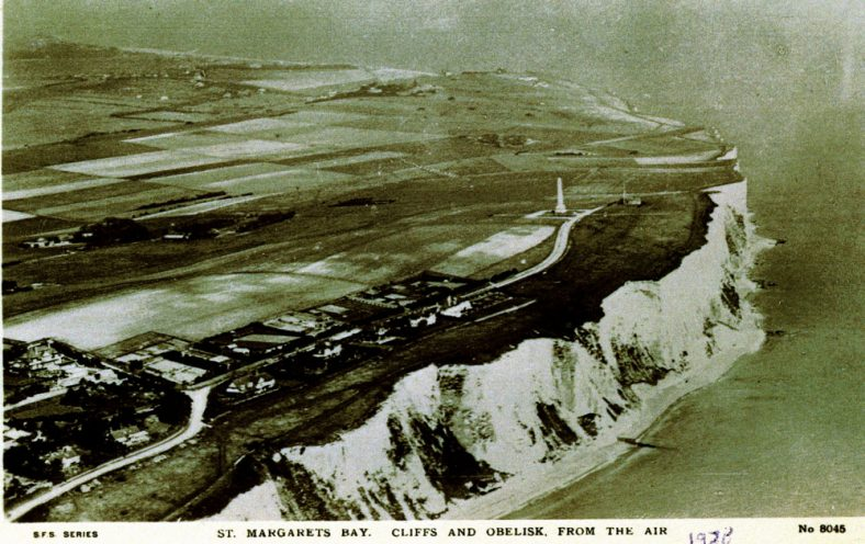 Cliffs and Granville Road towards Dover Patrol Monument. 1928