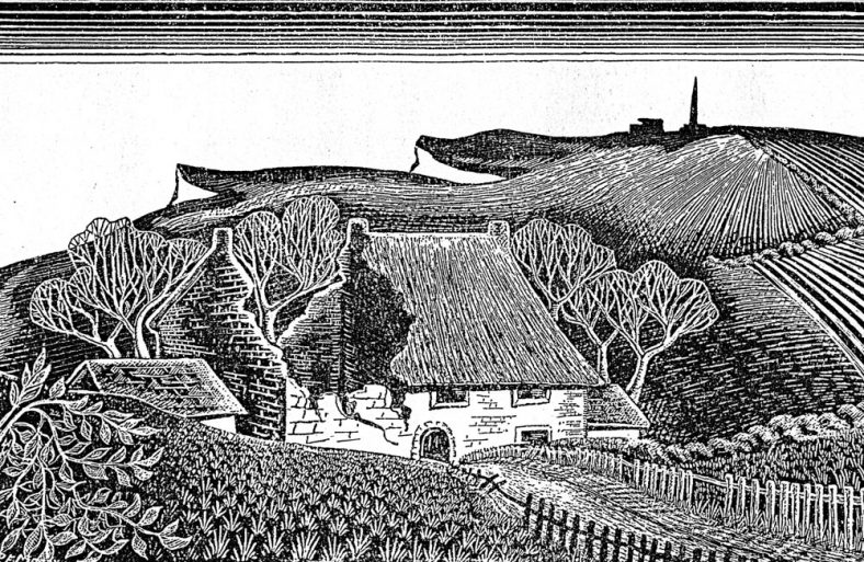 Woodcut of Hope Farm by Pat Moody. c1945