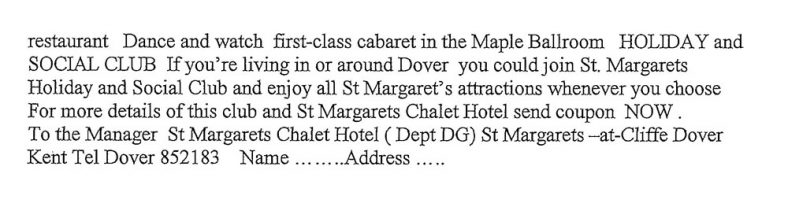 Advertisements for St Margaret's from Dover Official Guide 1974