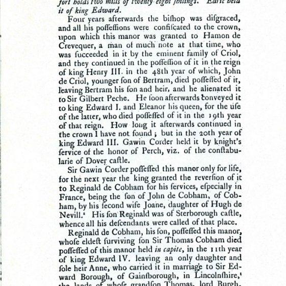 Westcliffe parish in 1800 by Edward Hasted