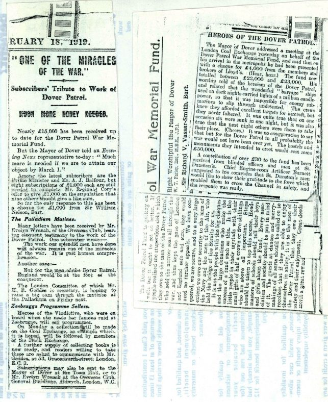 Appeals for donations for construction of the Dover Patrol Memorial. February & March 1919