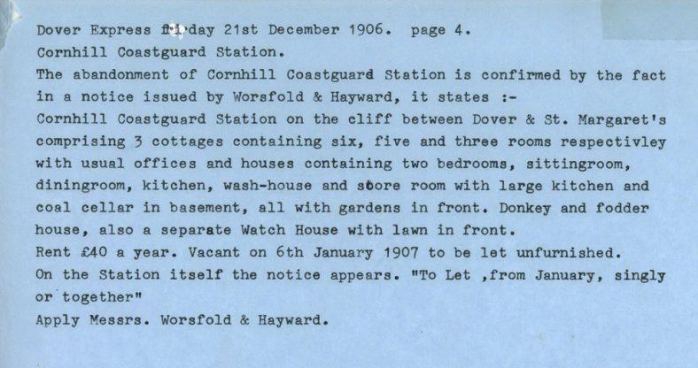 Cornhill Coastguard Station Westcliffe. 1906-1914