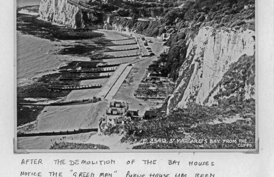 A photograph taken from The Leas c 1950's after the demolition of Bay properties and the re- construction of The Green Man