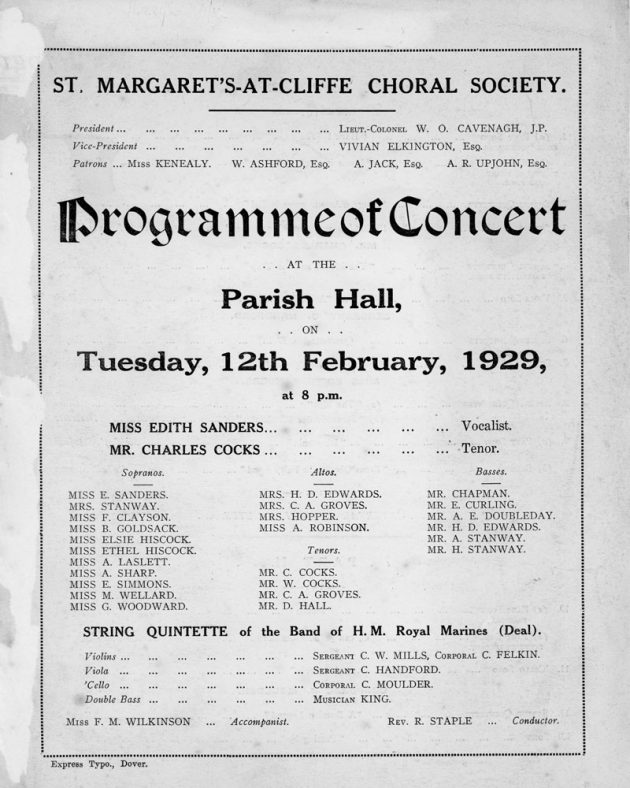 Programme of St Margaret's Choral Society Concert. 12th February 1929