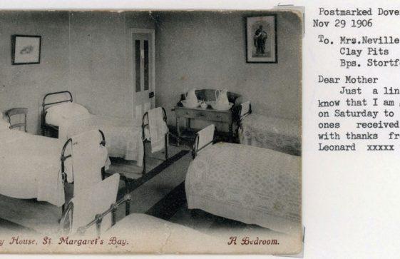 A bedroom in Morley House. postmark 1906