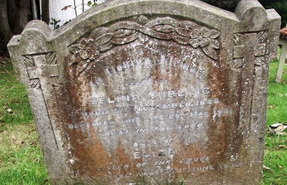 Gravestone of CURLING Selina 1931; CURLING Eliza 1932