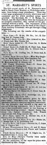 Details of 5th St Margaret's Sports Day. 1900