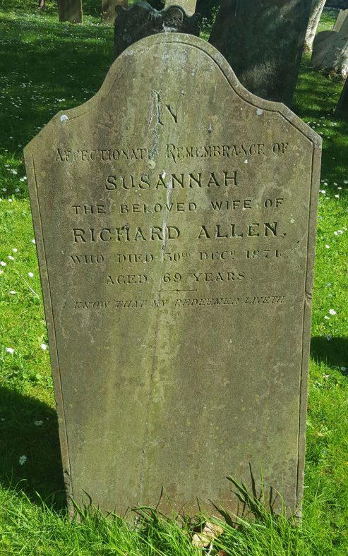 Gravestone of ALLEN Susannah 1874 | Dawn Sedgwick
