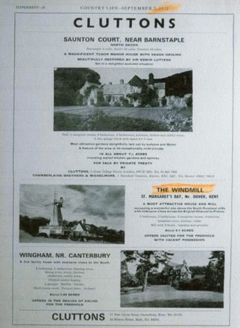 Cluttons Advertisement for the Windmill at St Margaret's Bay. 1972