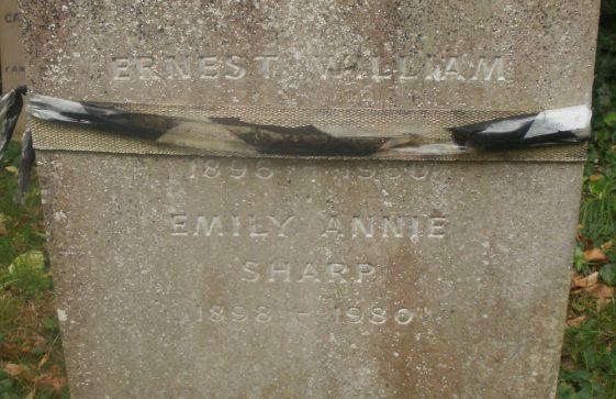 Gravestone of SHARP Emily Annie 1980; SHARP Ernest William 1960