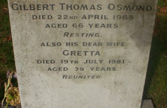 Gravestone of OSMOND Gilbert Thomas 1965; OSMOND Gretta 1981; OSMOND Arthur Ivor 2011