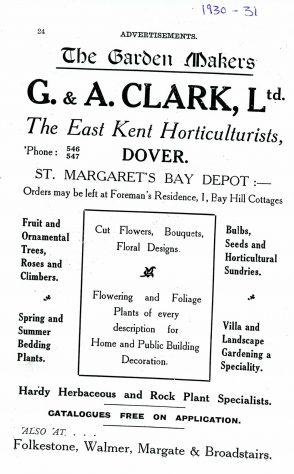 Advertisement for G & A Clark Ltd Horticulturists, Bay Hill. 1930/31