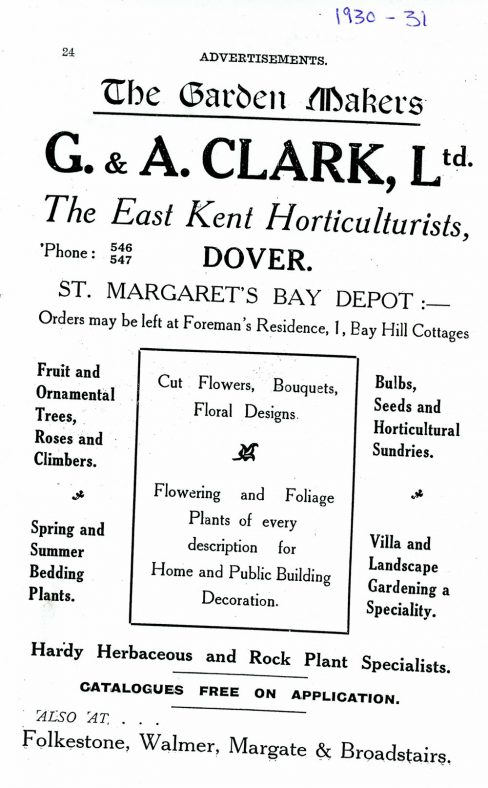 Advertisement for G & A Clark Ltd Horticulturists, Bay Hill. 1930/31