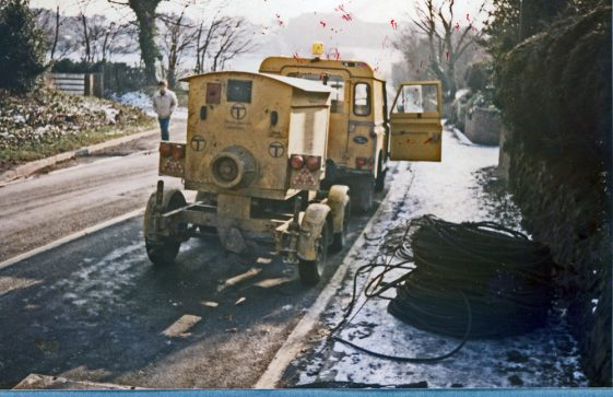 BT cable laying in progress Sea Street and Chapel Lane. 1985