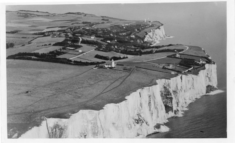 Aerial view of St Margaret's Bay looking north from above South Foreland Lighthouse. c1925