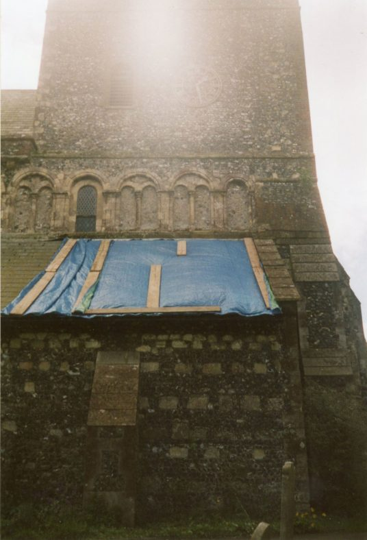 Temporary repairs to the church vestry roof.  5 May 2004.