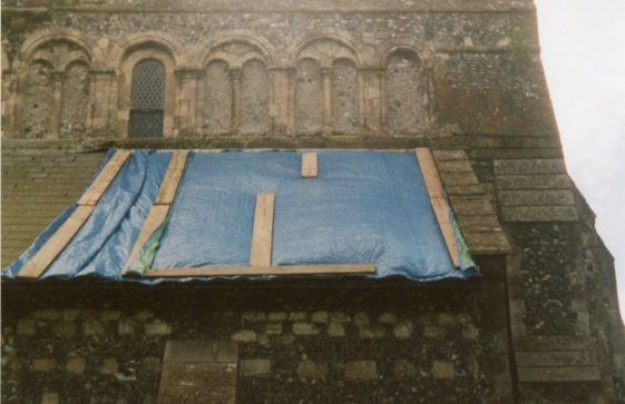 Repairs to the vestry roof.  5 May 2004.