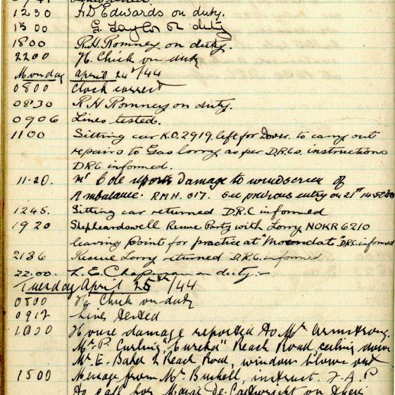 St Margaret's ARP (Air Raid Precautions) Log. Volume 8. 25 October 1943 - 10 August 1944. Pages 73-84