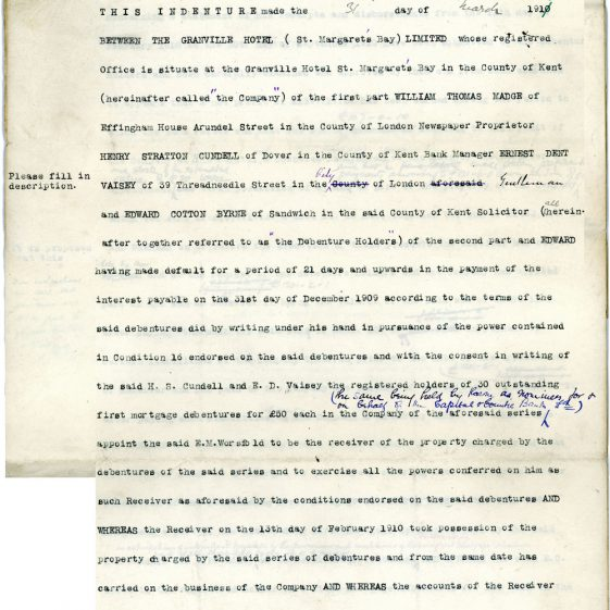 Indenture between the Granville Hotel and William Thomas Madge and Others. 1911