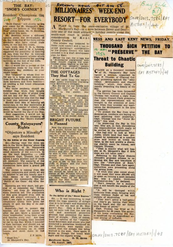 Letters and report on the re-development of St Margaret's Bay after WW2