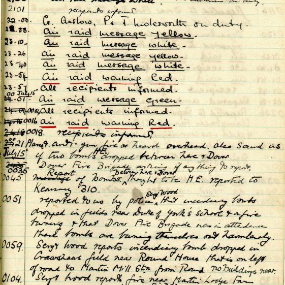 St Margaret's ARP (Air Raid Precautions) Log. Volume 1. 1 September 1939 - 24 July 1940. Pages 131-141