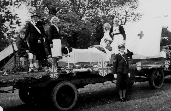 Red Cross Nurses on a decorated float during Coronation celebrations.1953