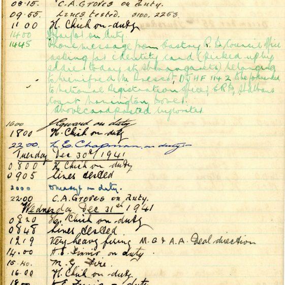 St Margaret's ARP (Air Raid Precautions) Log. Volume 5. 25 September 1941 - 17 July 1942. Pages 48 - 57.
