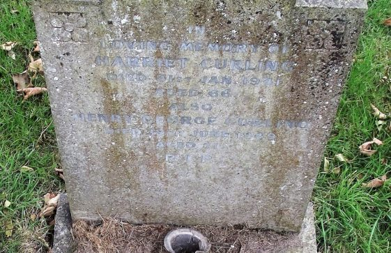 Gravestone of CURLING Harriet 1941; CURLING Henry George 1949