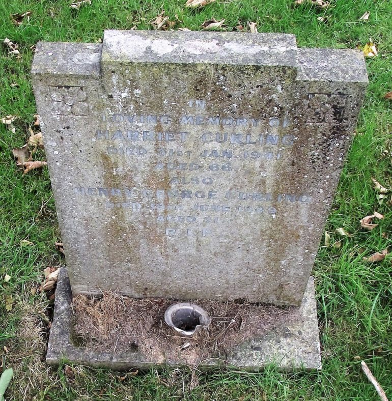 Gravestone of CURLING Harriet 1941; CURLING Henry George 1949 | Dawn Sedgwick.