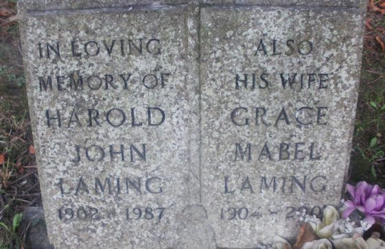 Gravestone of LAMING Harold John 1987; LAMING Grace Mabel 2002