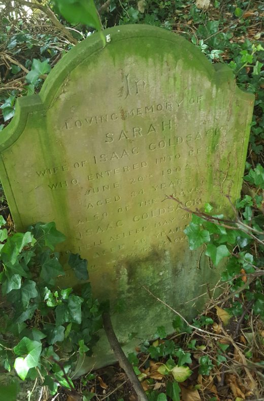 Gravestone of GOLDSACK Sarah 1905; GOLDSACK Isaac 1909 | Dawn Sedgwick