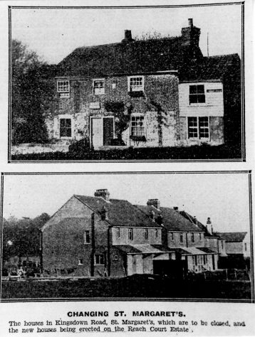Old cottages in Kingsdown Road; New houses in Reach Court Estate.  c1936