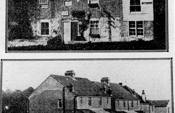 Old cottages in Kingsdown Road and the new houses in Reach Court Estate.  c1936