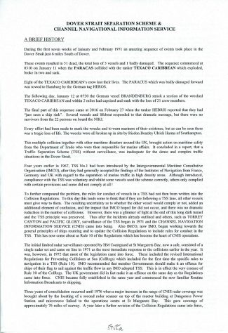 Brief history of the Dover Strait Separation Scheme and the Channel Navigation Information Service