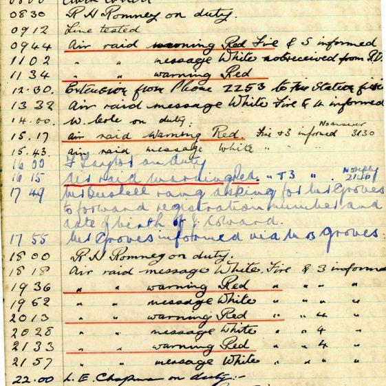 St Margaret's ARP (Air Raid Precautions) Log. Volume 4. 18 February 1941 - 25 September 1941. Pages 72-80