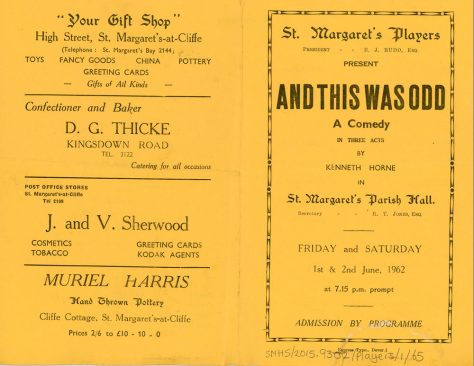 Programme of St Margaret's Players production 'And This Was Odd'. 1962