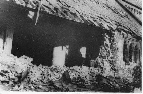 War damage to St Margaret's Church. 28 November 1940.