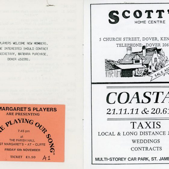 Programme and ticket of St Margaret's Players production 'They're Playing Our Song'. unknown date