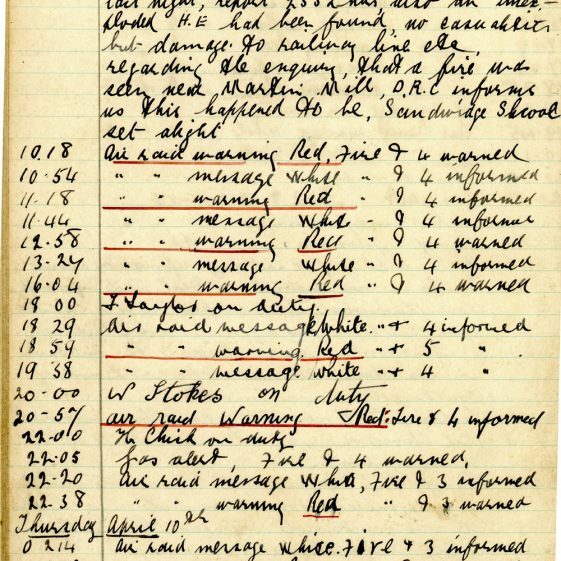 St Margaret's ARP (Air Raid Precautions) Log. Volume 4. 18 February 1941 - 25 September 1941. Pages 36-44