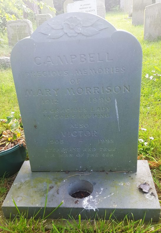 Gravestone of CAMPBELL Mary Morrison 1990; CAMPBELL Victor 1995 | Dawn Sedgwick