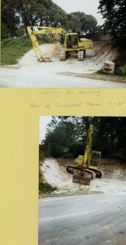 An excavator at work on 'Holm Oaks' building plot at the rear of Townsend Farm in Dover Road. 1986