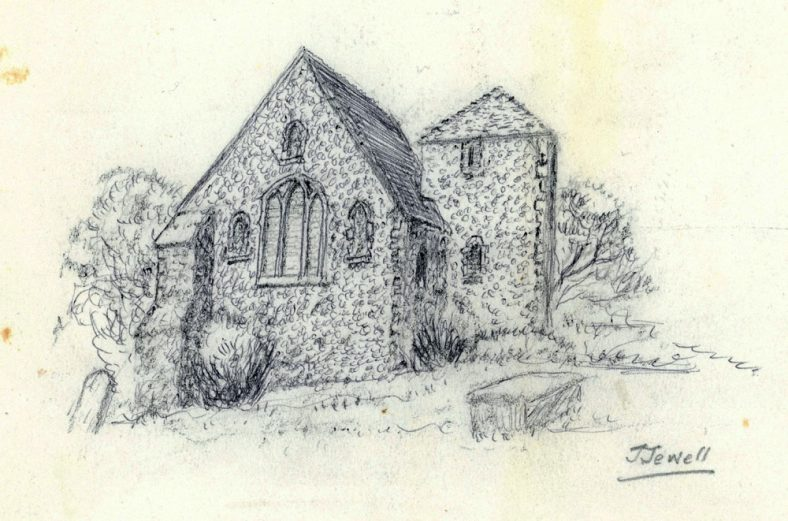 Drawing of St Peter's Church, Westcliffe, by John Jewell