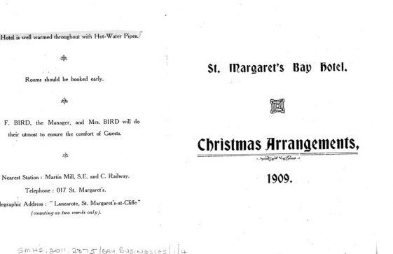 Christmas Arrangements at the St Margaret's Bay Hotel. 1909