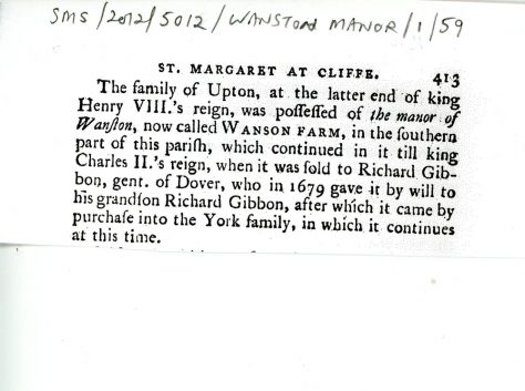 The ownership of Wanstone Farm from Henry VIII's time to 1800