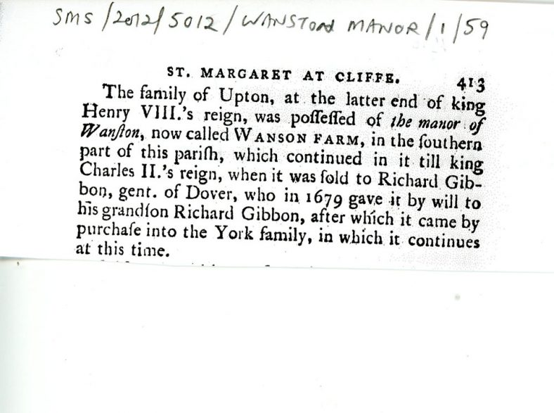 A short article about the ownership of Wanstone Farm from Henry VIII's time