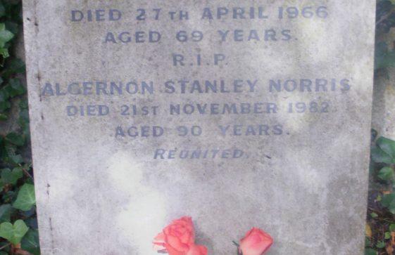 Gravestone of NORRIS Elsie May 1966; NORRIS Algernon Stanley 1982
