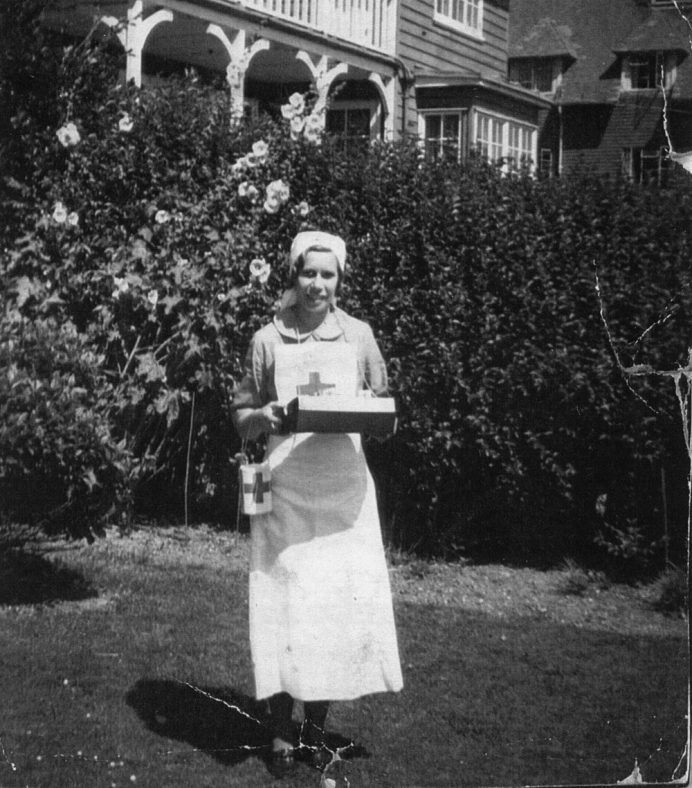 Daisy Hayward on a Red Cross flag day at the Bay Hotel. Date unknown