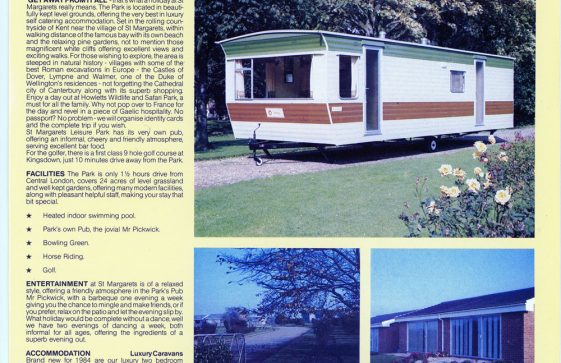 Leaflet showing caravans and a plan of the Country Club. 1986